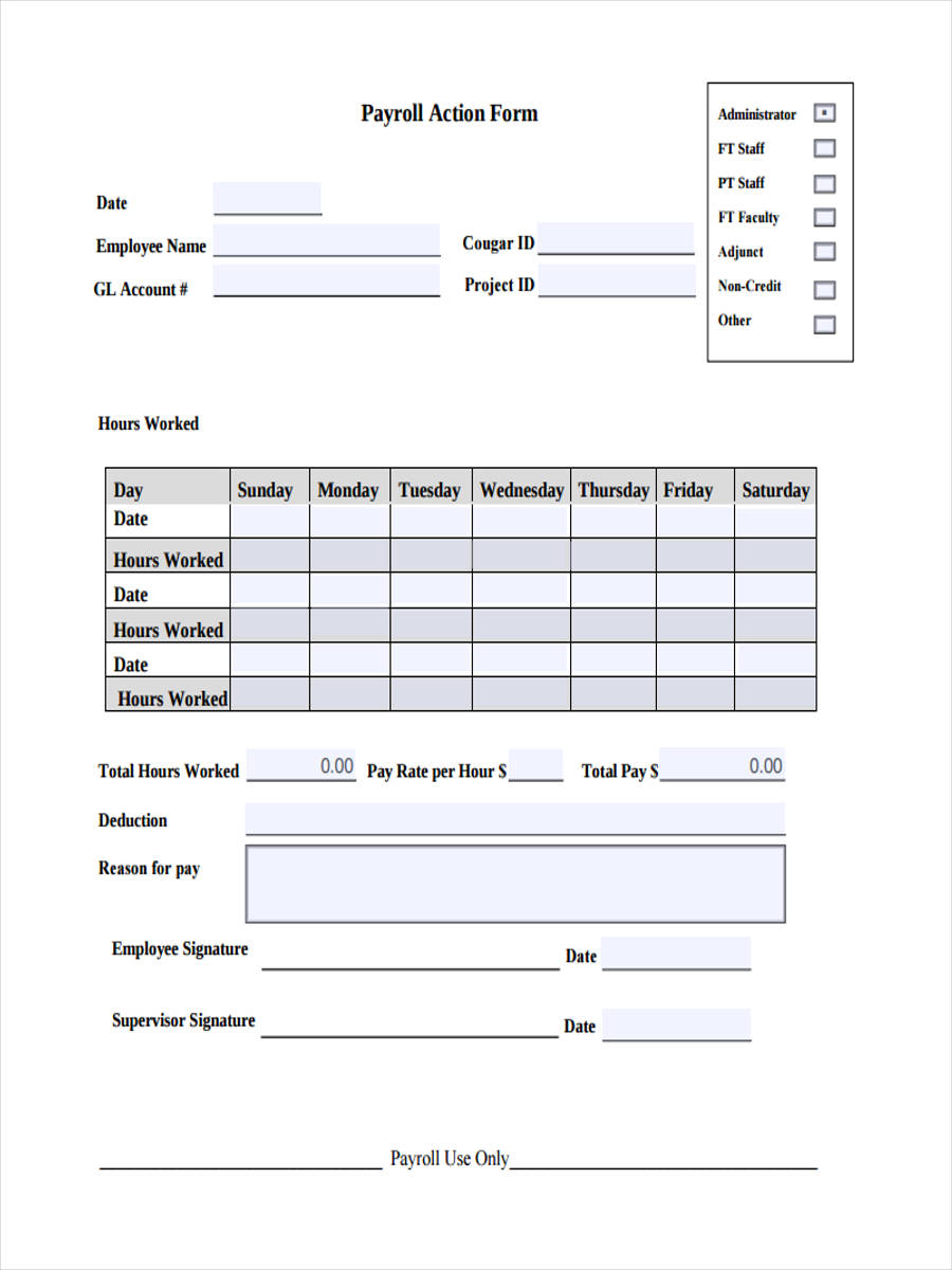 10  payroll action form sample
