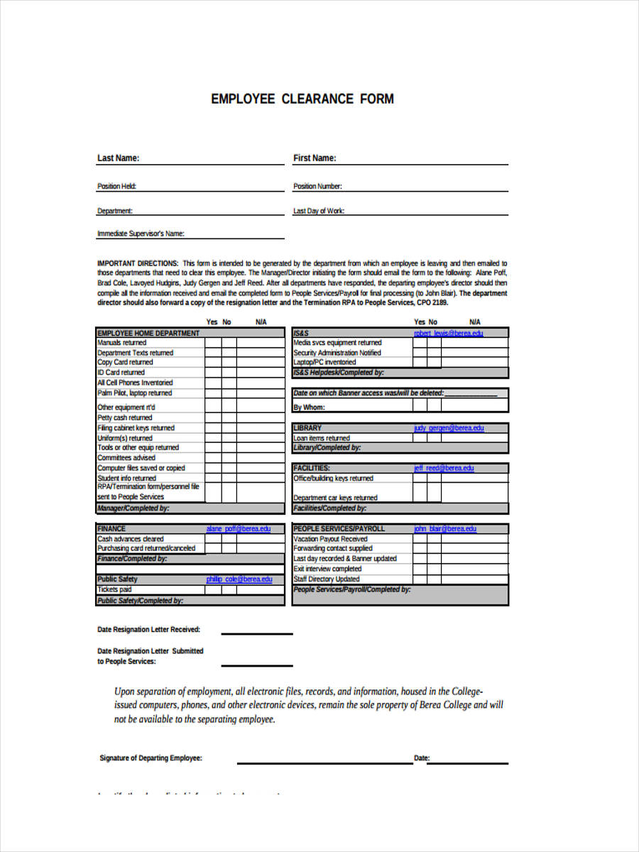 employee resignation clearance1