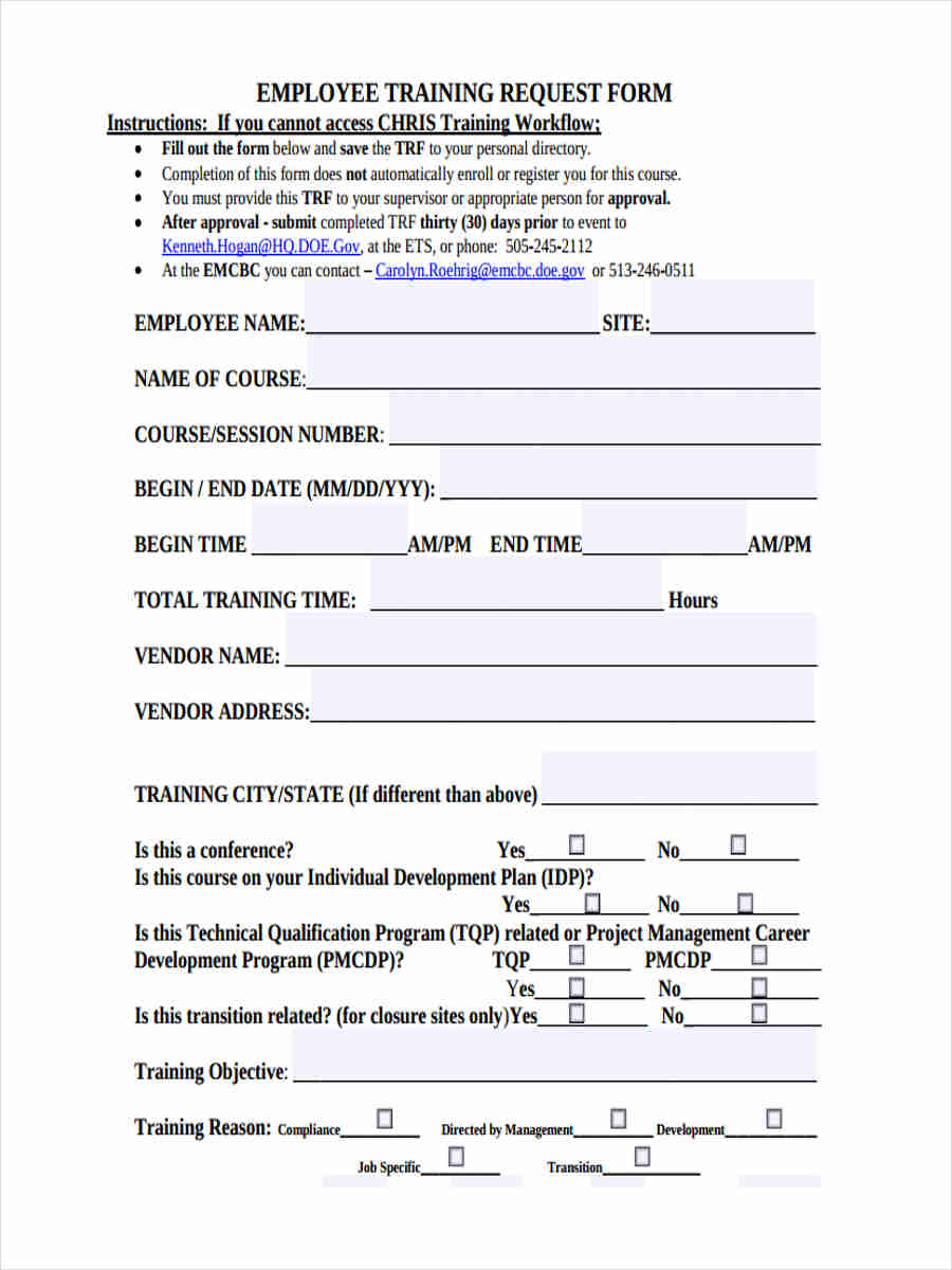 employee training form