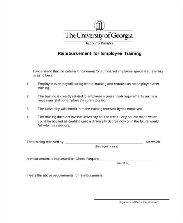 employee training reimbursement