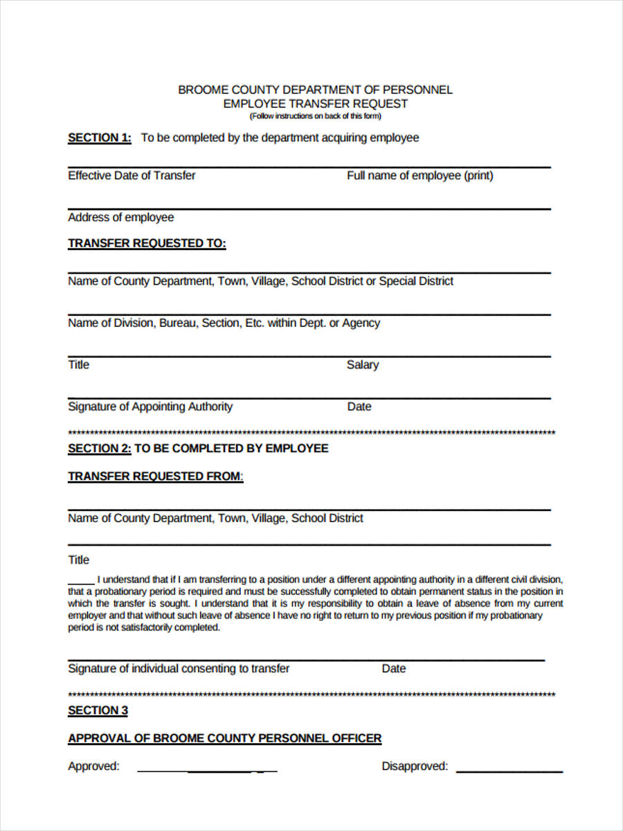 employee transfer form
