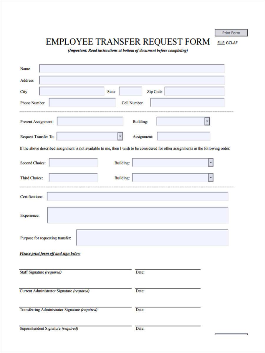 employee transfer request