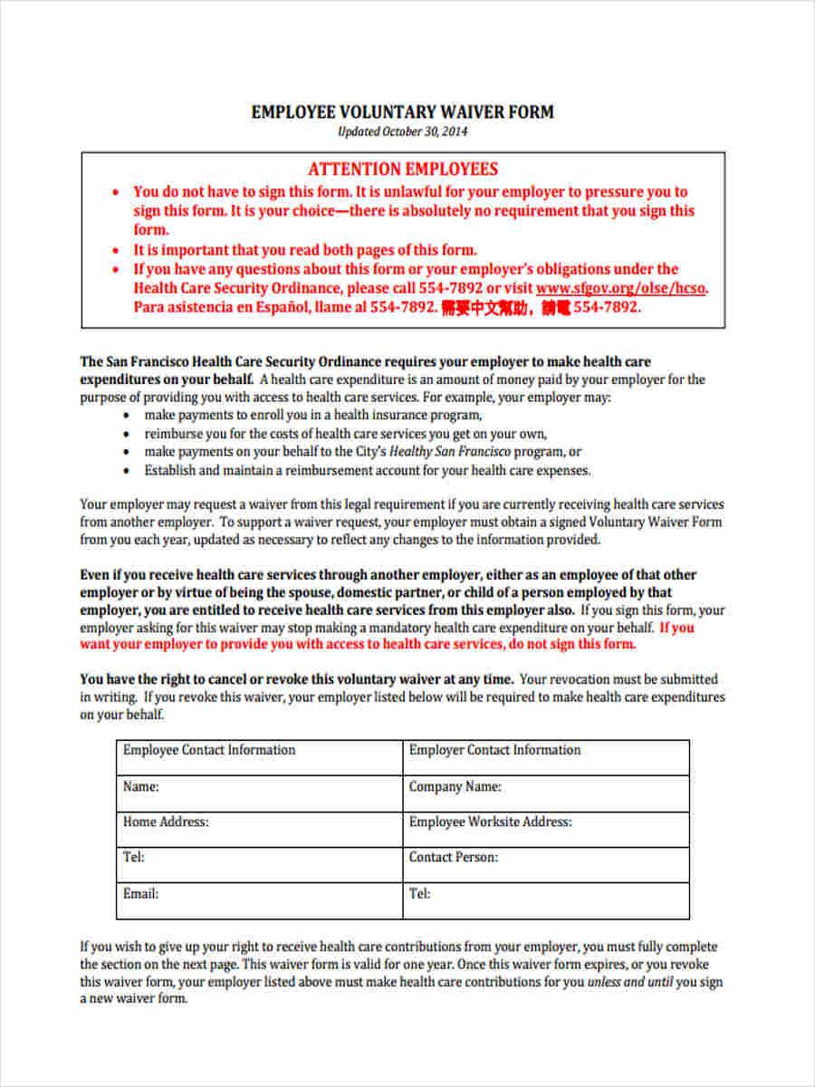 employee voluntary waiver