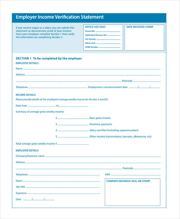 employer income form