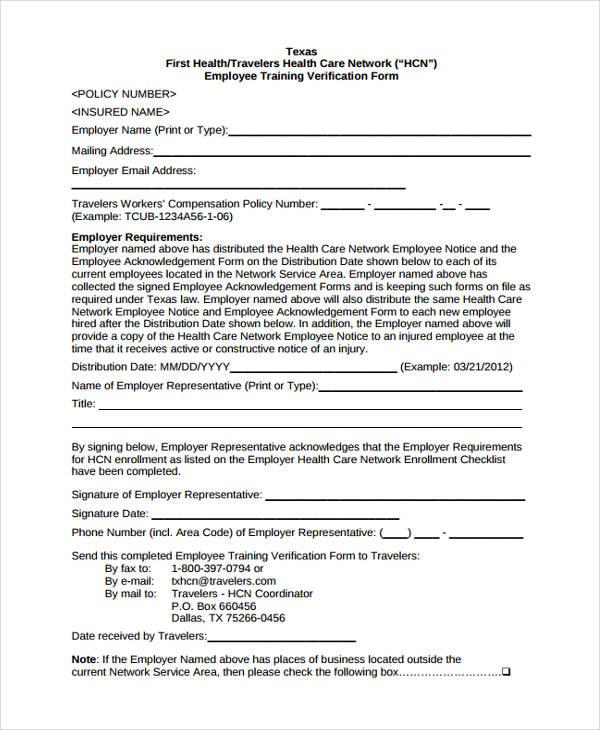 employer training verification
