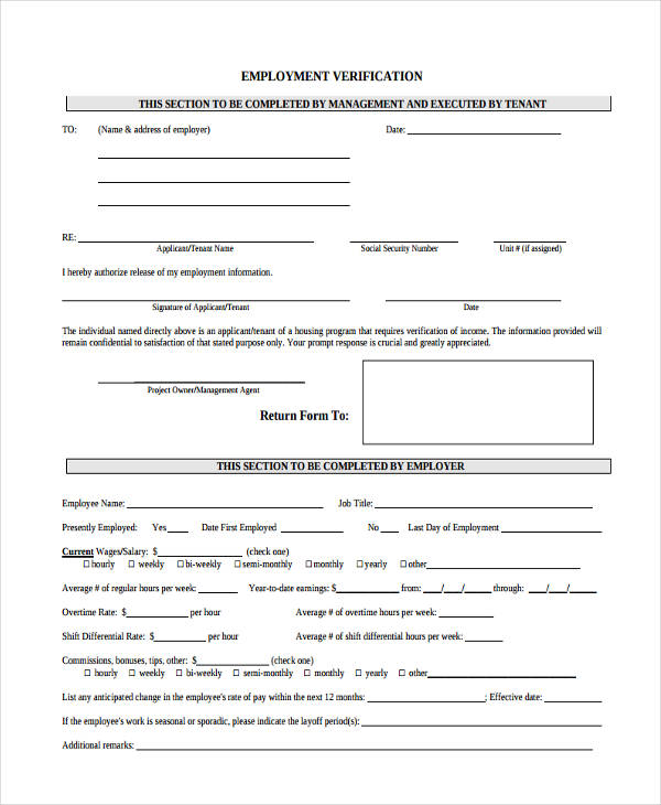 employer verification form