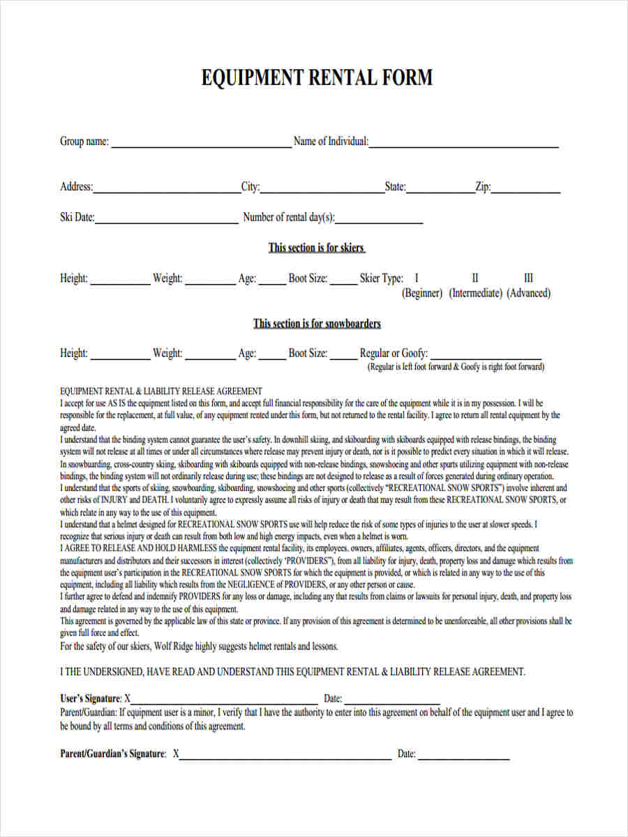 6 equipment liability form samples free sample example for Equipment hire form template