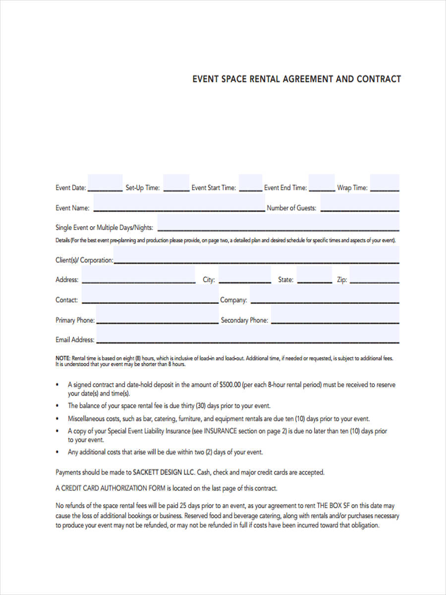 Free 8 Event Agreement Forms In Sample Example Format