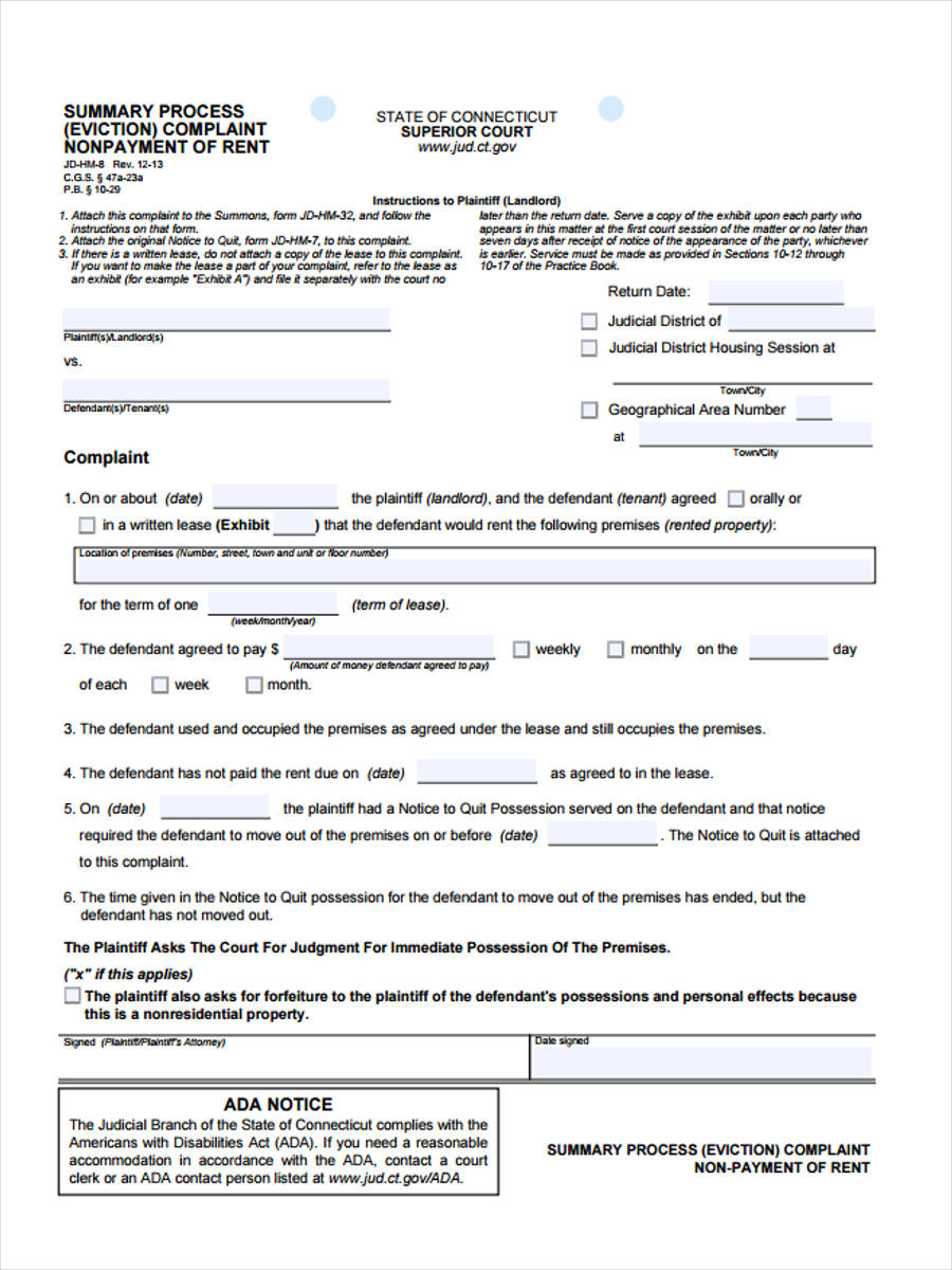 eviction complaint in pdf