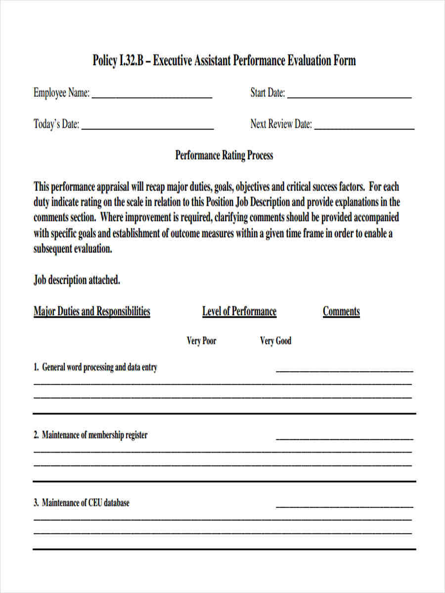 executive assistant review form
