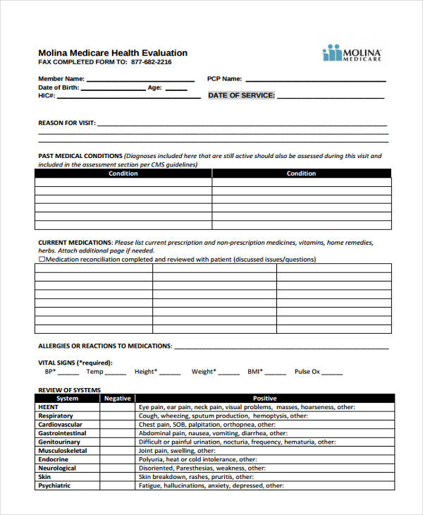 35 health assessment form templates for Risk assessment template mental health