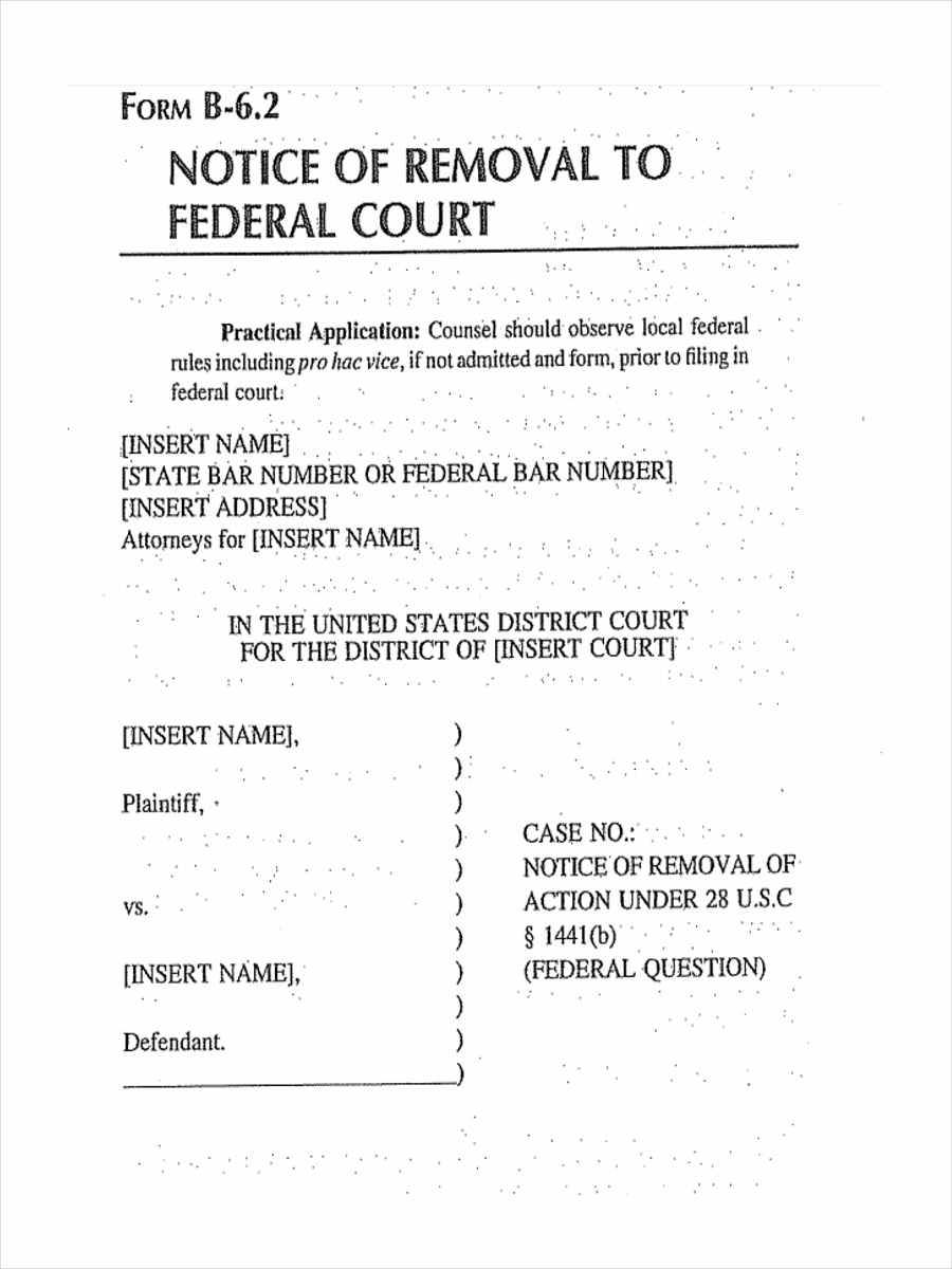 federal court notice of removal