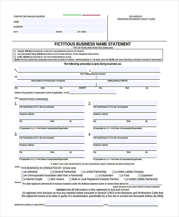 business statement forms