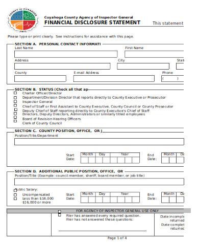 financial disclosure statement form