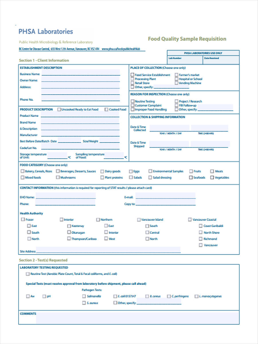 food requisition forms