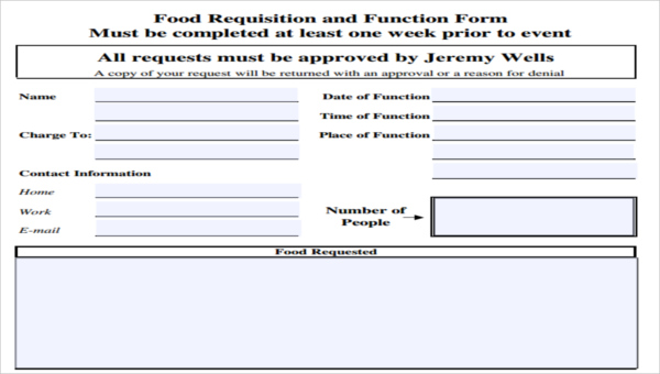 Sample Requisition Form | 7 Food Requisition Form Sample Free Sample Example Format Download