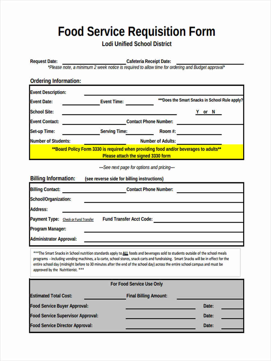 9+ Service Requisition Form Samples - Free Sample, Example Format ...