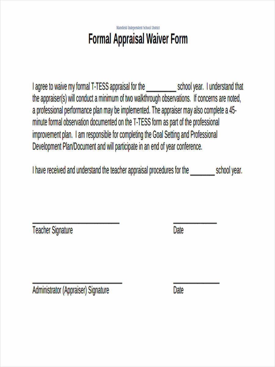 formal appraisal waiver