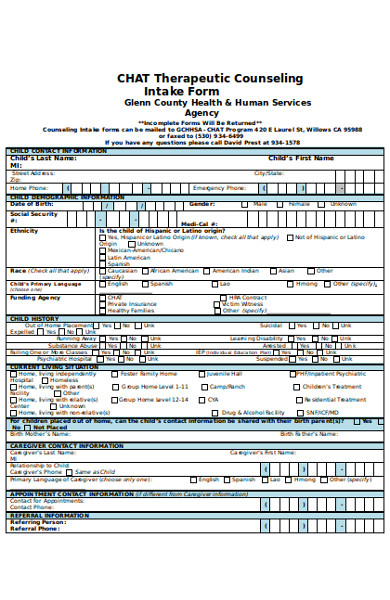formal counseling intake form