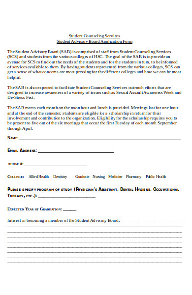 formal student counseling form
