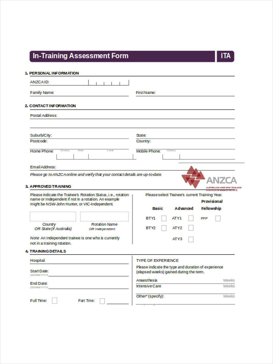 formal training assessment