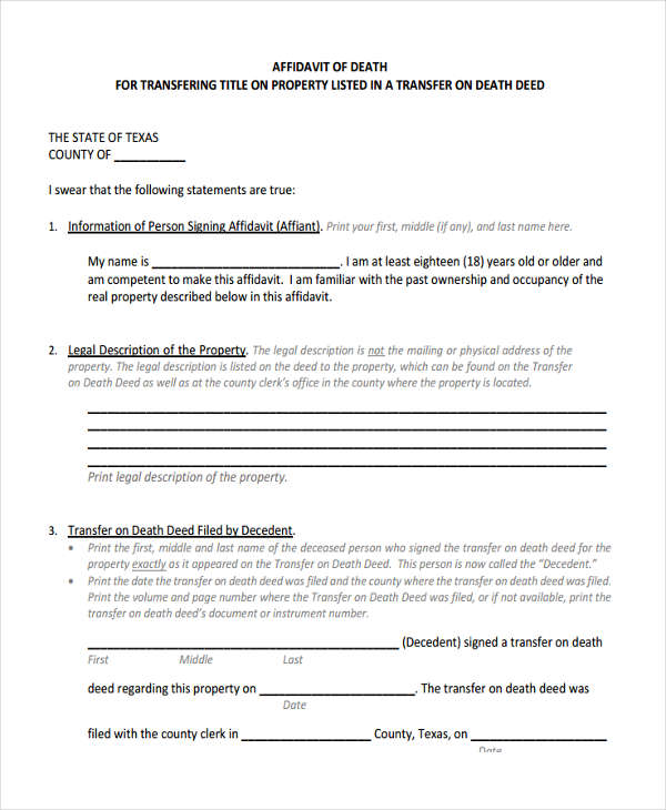 Sample Affidavit of Death Forms - 5+ Free Documents in Word, PDF