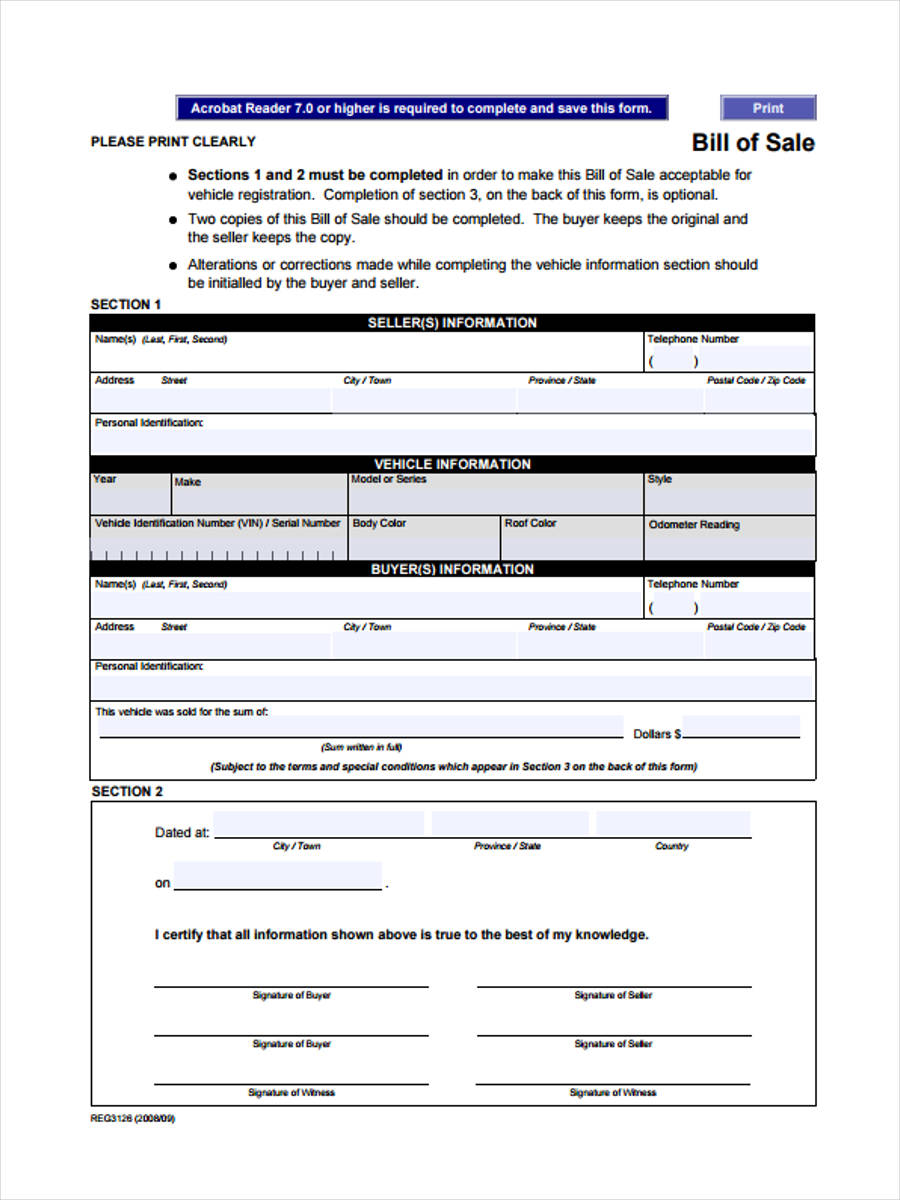 free bill of sale form