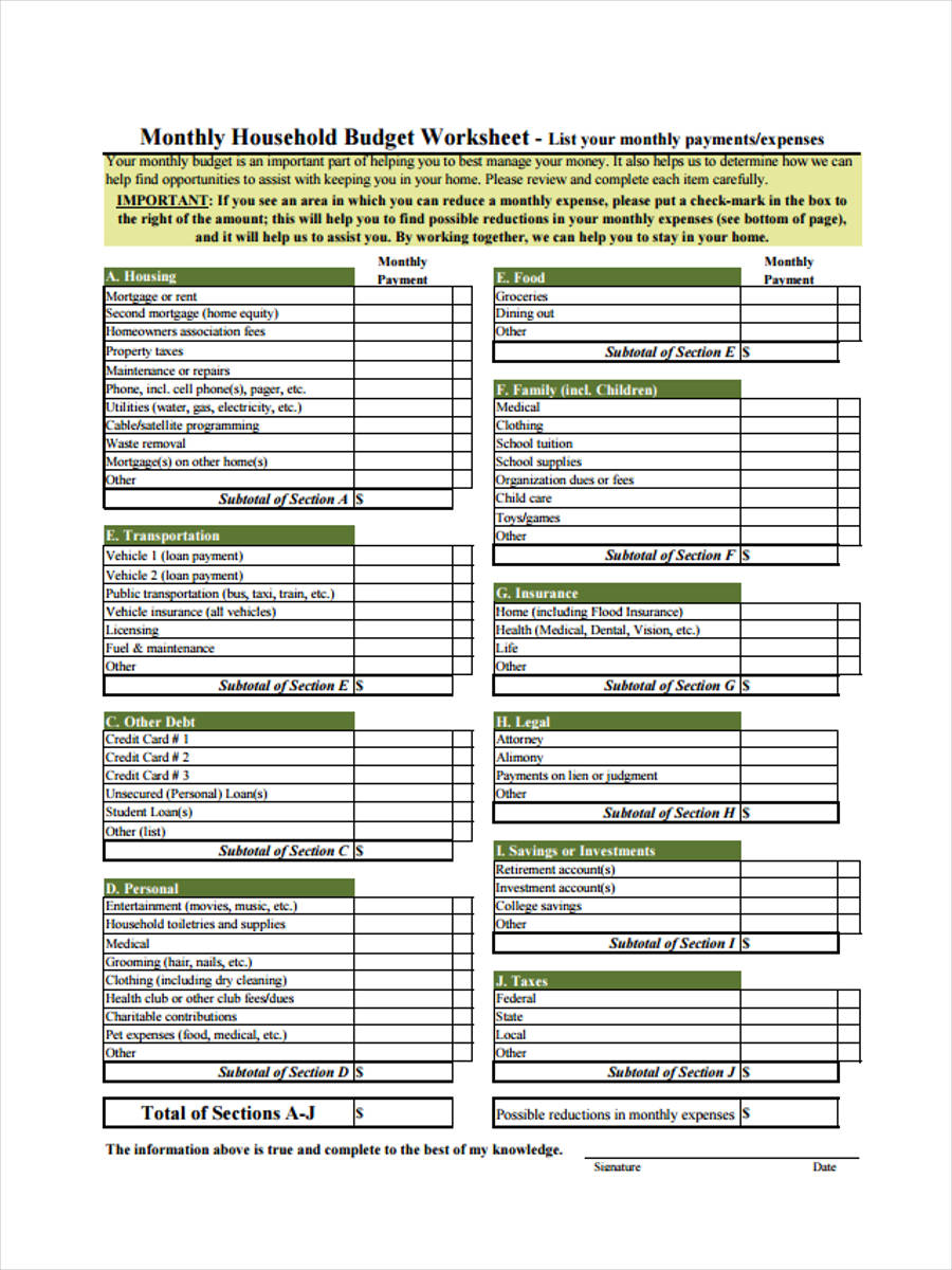 6+ Family Budget Forms - Free Sample, Example Format Download