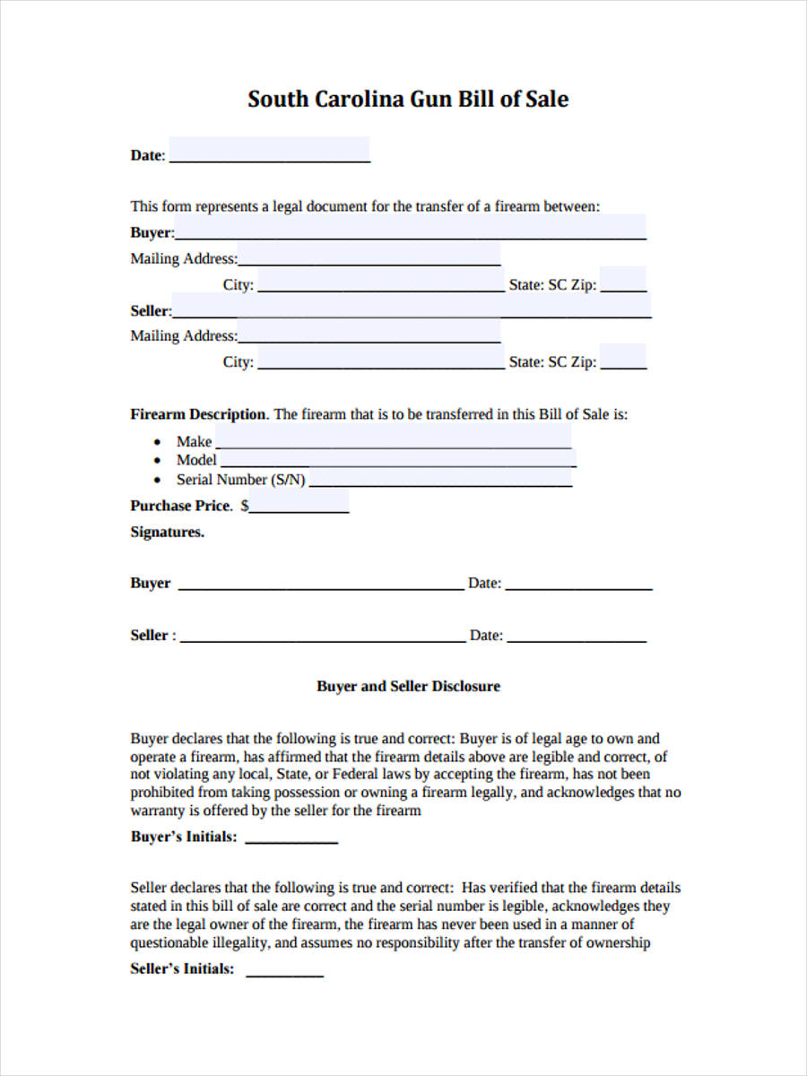 Bill Of Sale Example >> FREE 6+ Firearm Bill of Sale Forms in Samples, Examples ...