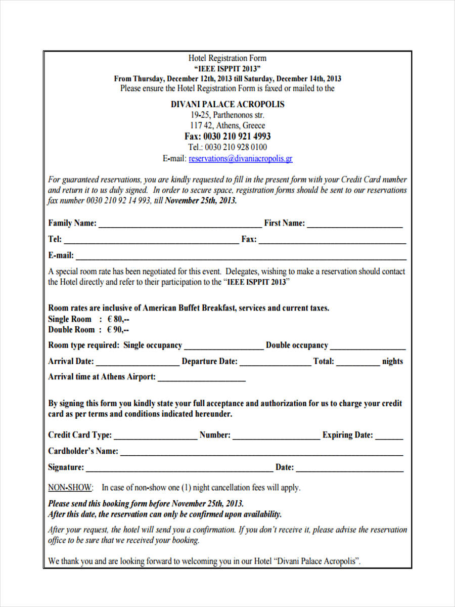21 Hotel Registration Form Templates
