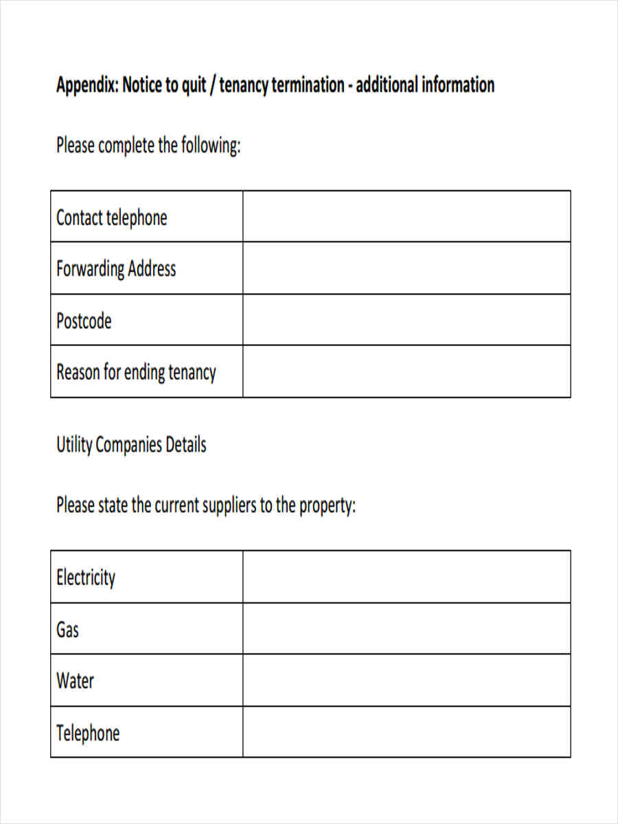 6 Notice to Quit Form Samples Free Sample Example Format Download – Sample of Notice to Quit