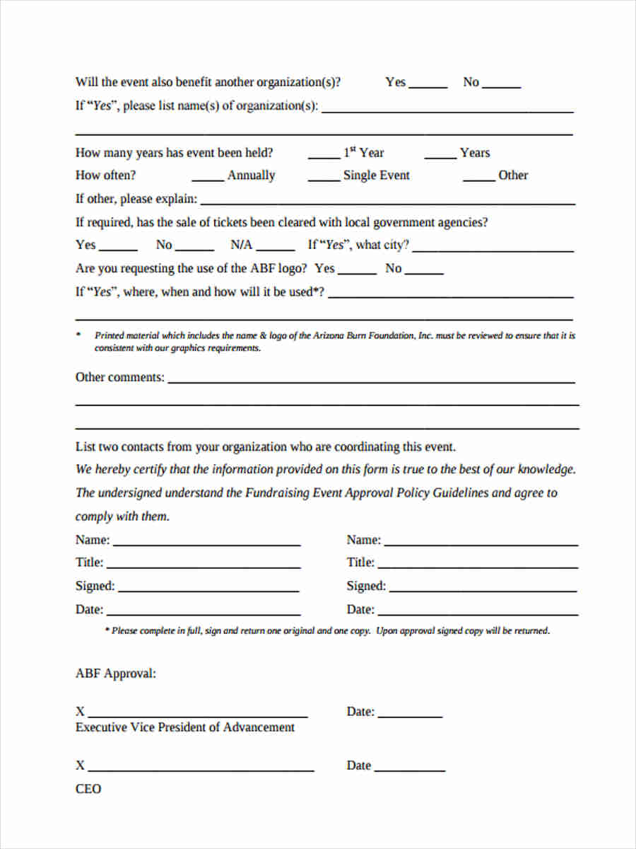 fundraising event approval