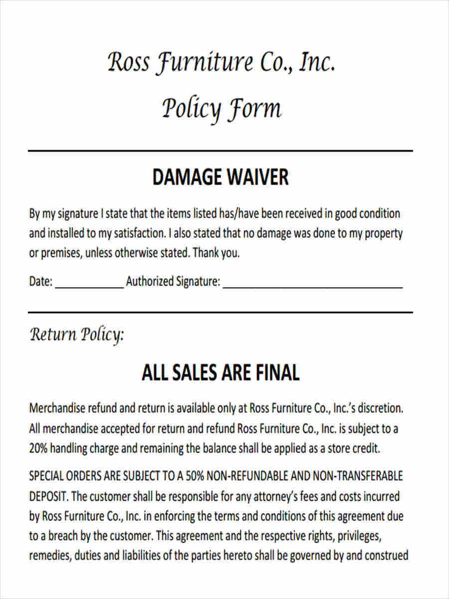 6 damage waiver form 5 free documents in word pdf for Furniture delivery