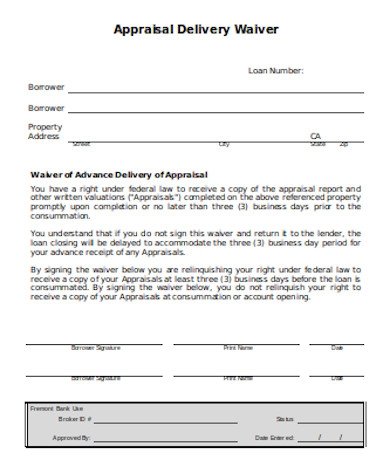 general appraisal waiver form