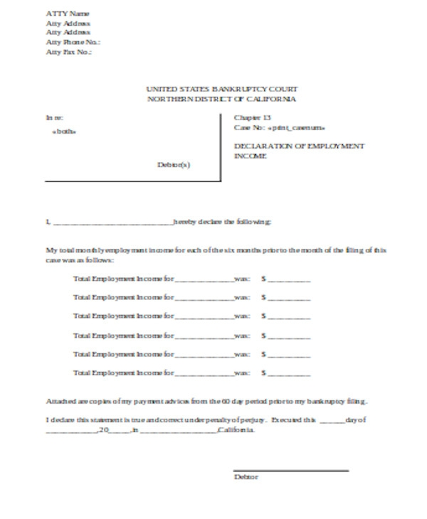 general employment income declaration form