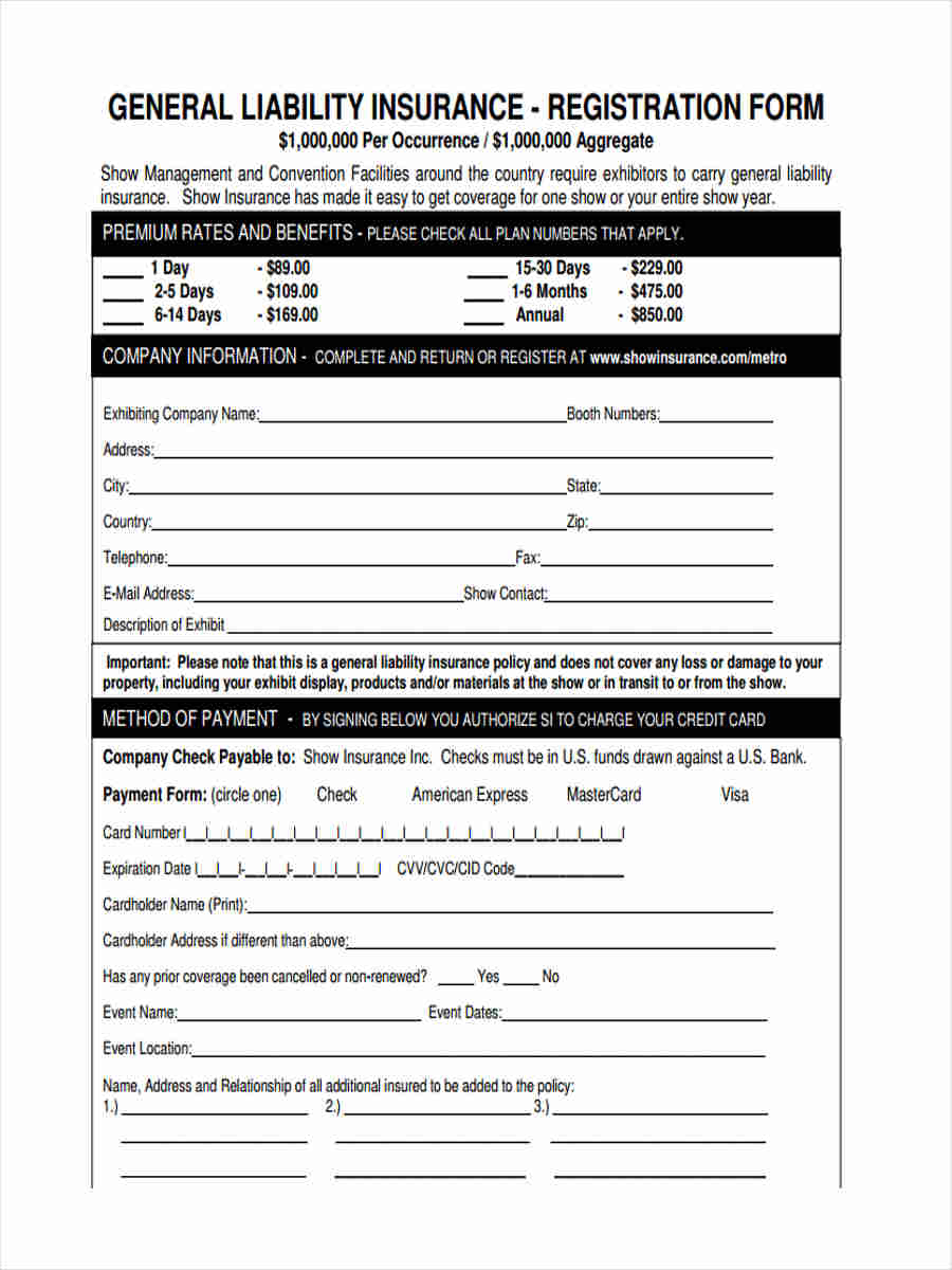 liability insurance forms