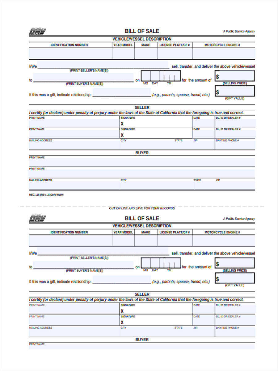 free 7  truck bill of sale forms in word