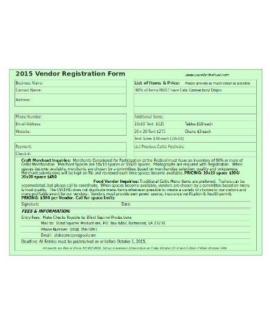 general vendor registration form