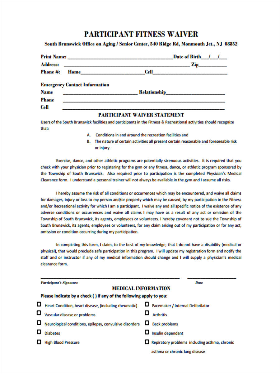 Fitness Waiver Template. waiver form online to use fitness ...