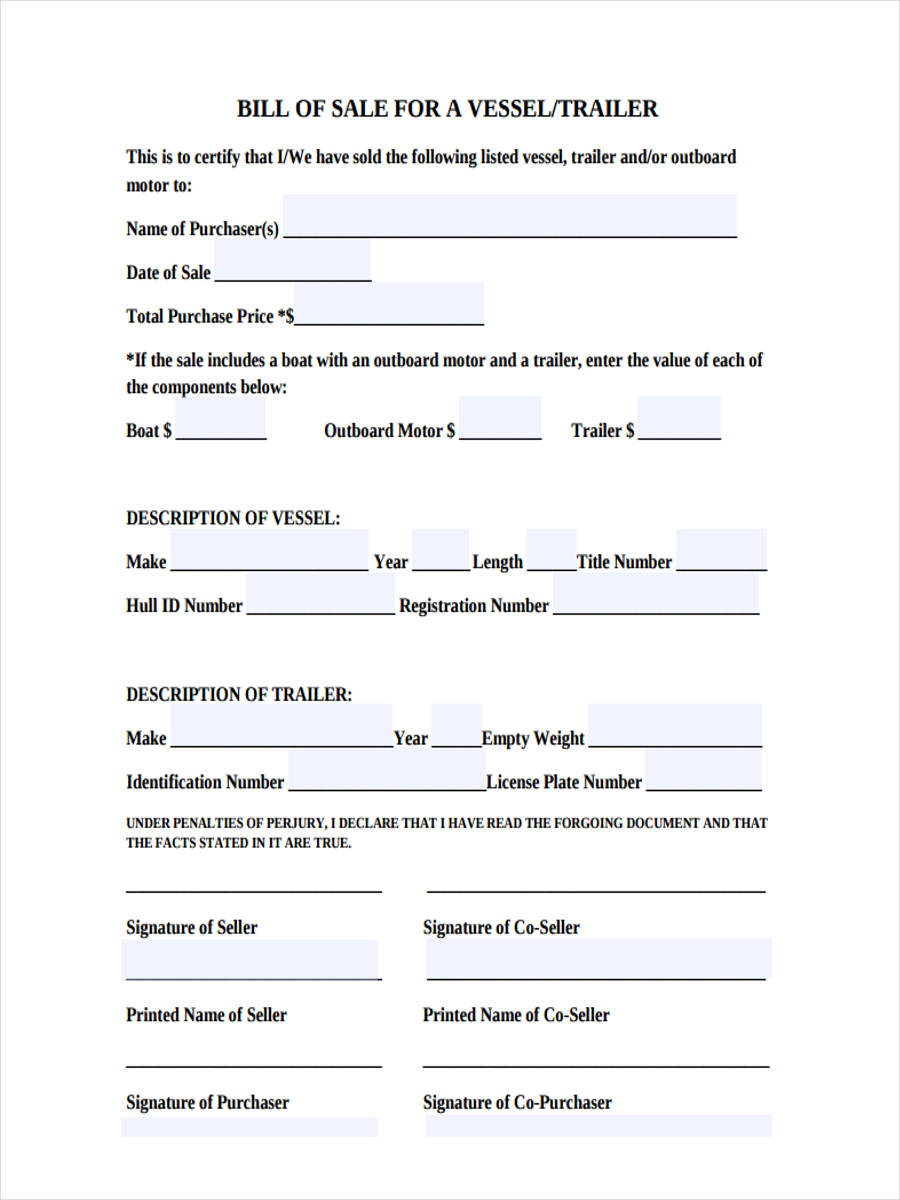 generic trailer form