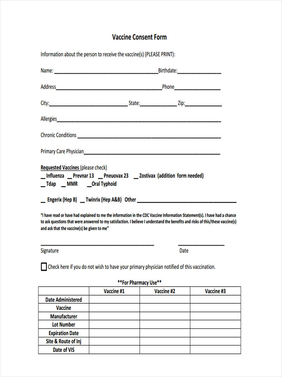 8 vaccine consent forms free sample example format for Generic consent form template