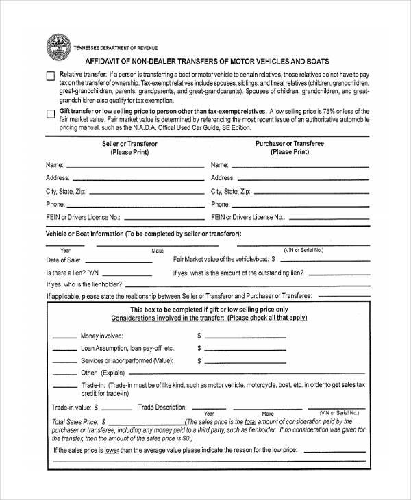 gift affidavit sample