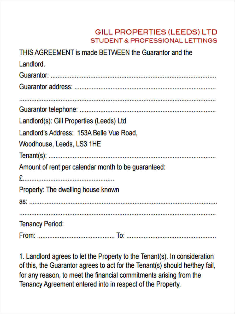 9 Guarantor Agreement Form Samples Free Sample Example Format