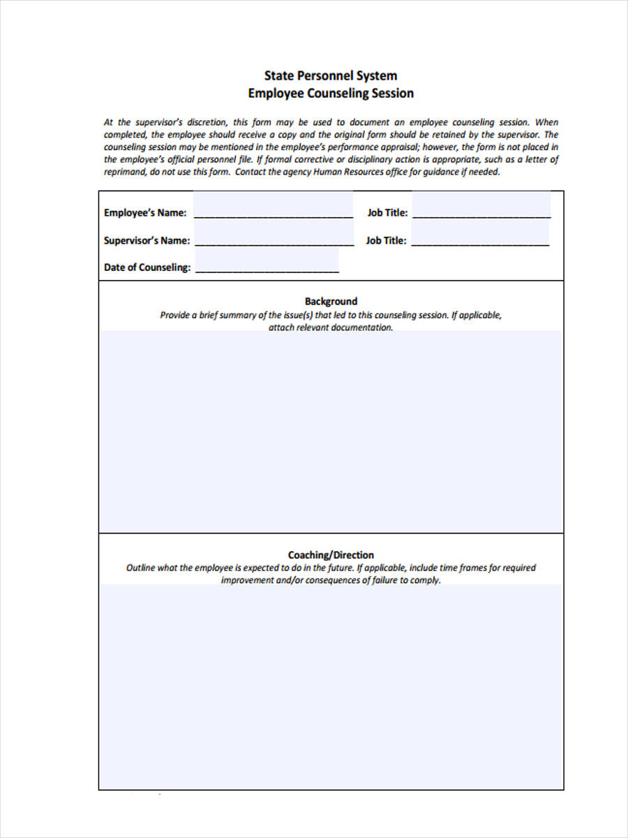 9 employee counseling forms free sample example format download. Black Bedroom Furniture Sets. Home Design Ideas