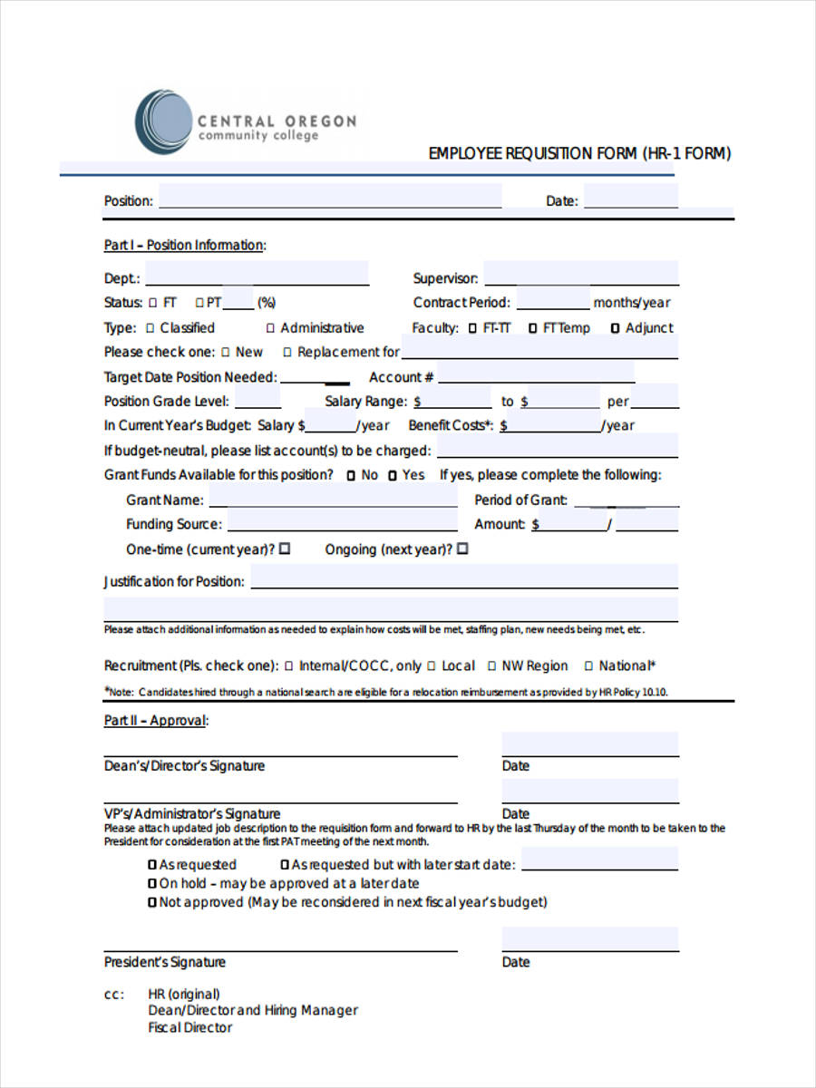 hr employee requisition