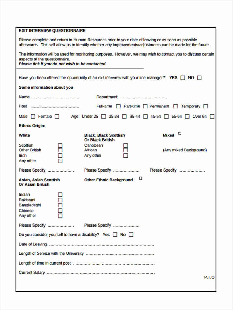 hr exit interview questionnaire