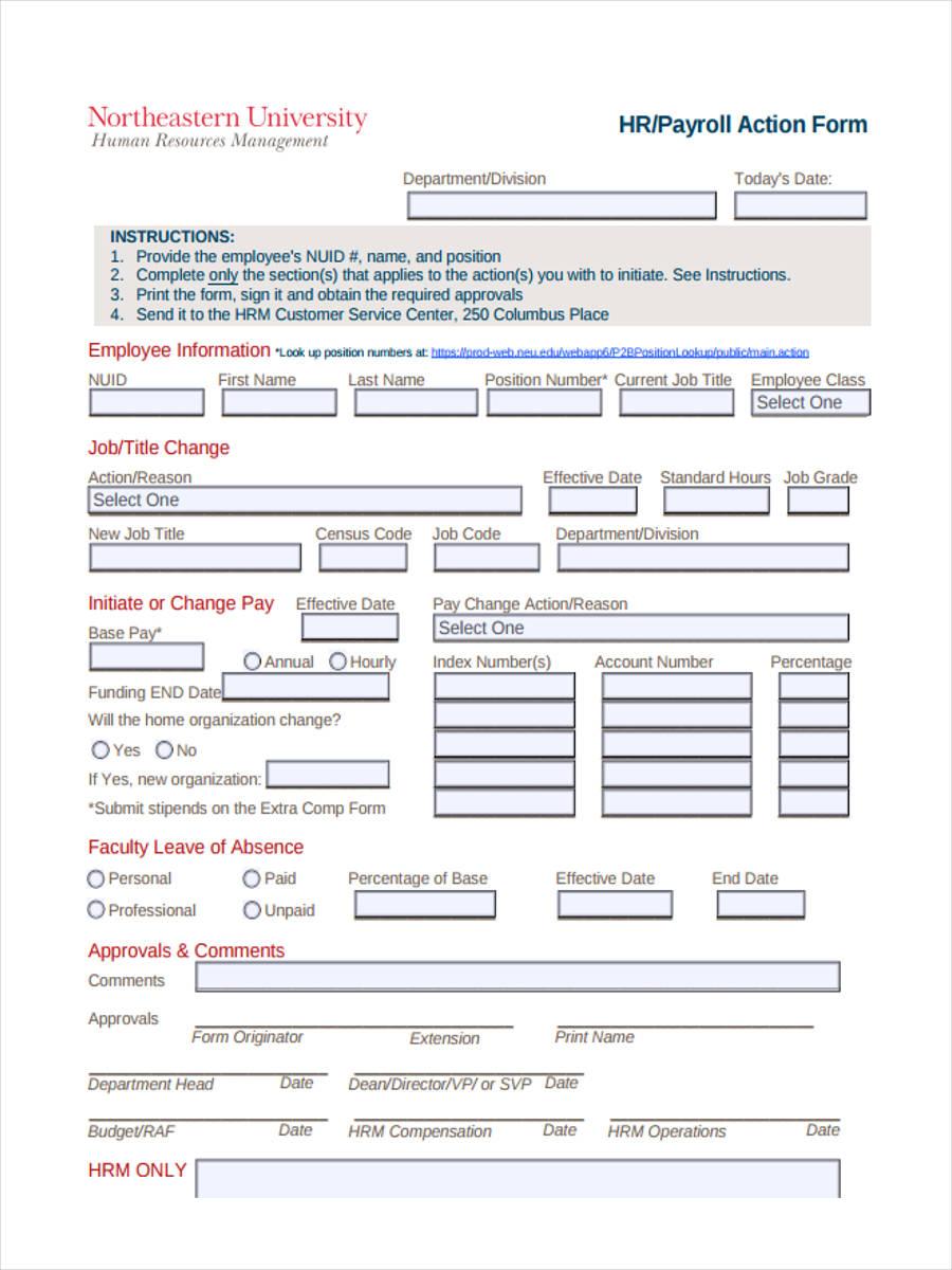 hr payroll form