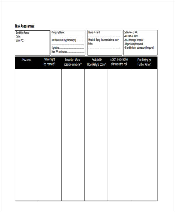 health and safety executive risk assessment form11