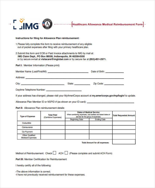 healthcare allowance reimbursement form