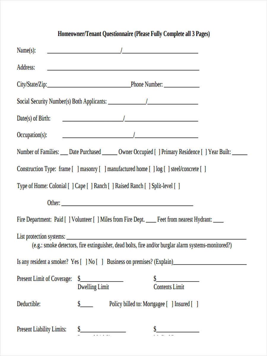 homeowner tenant questionnaire
